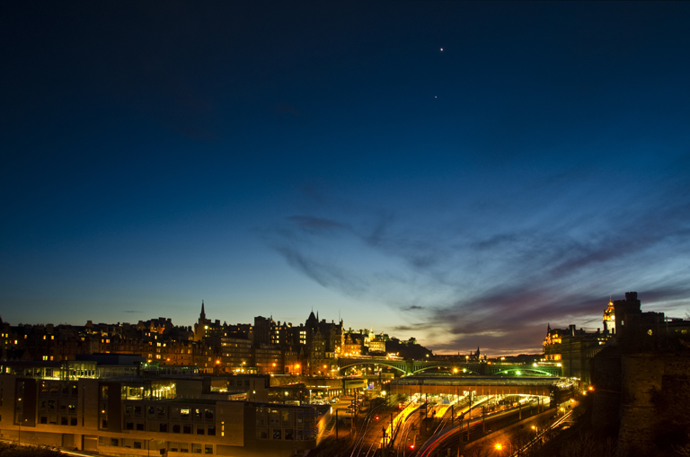 Jupiter and Venus over Edinburgh twilight